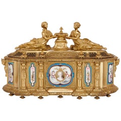 Large French Gilt Bronze Casket with Portraits of Marie Antoinette and Louis XVI