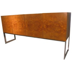 Mid-Century Modern Olive Wood Floating Credenza by Milo Baughman