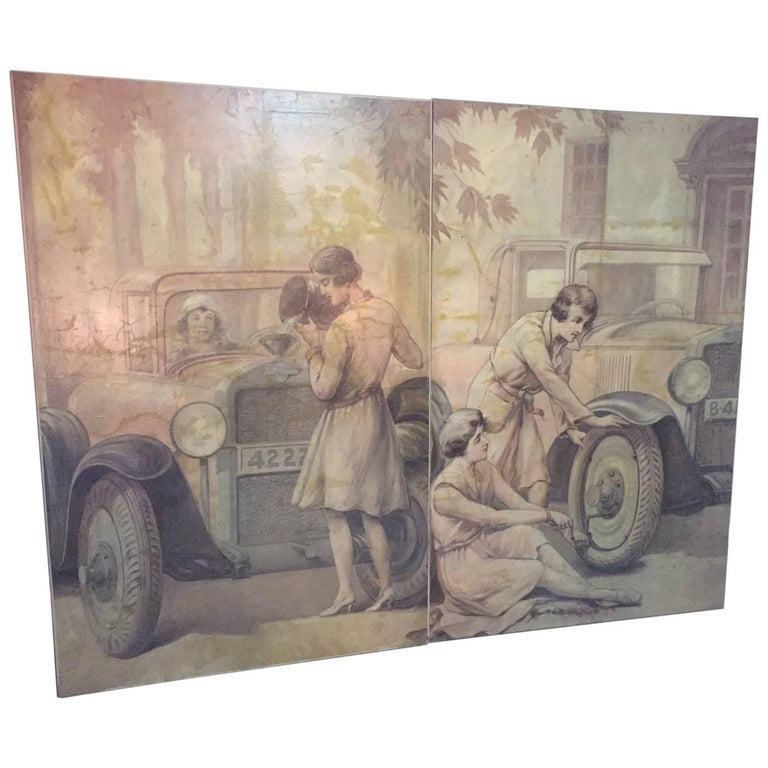 Pair of Oil on Canvas on 1920s Chevrolet Theme