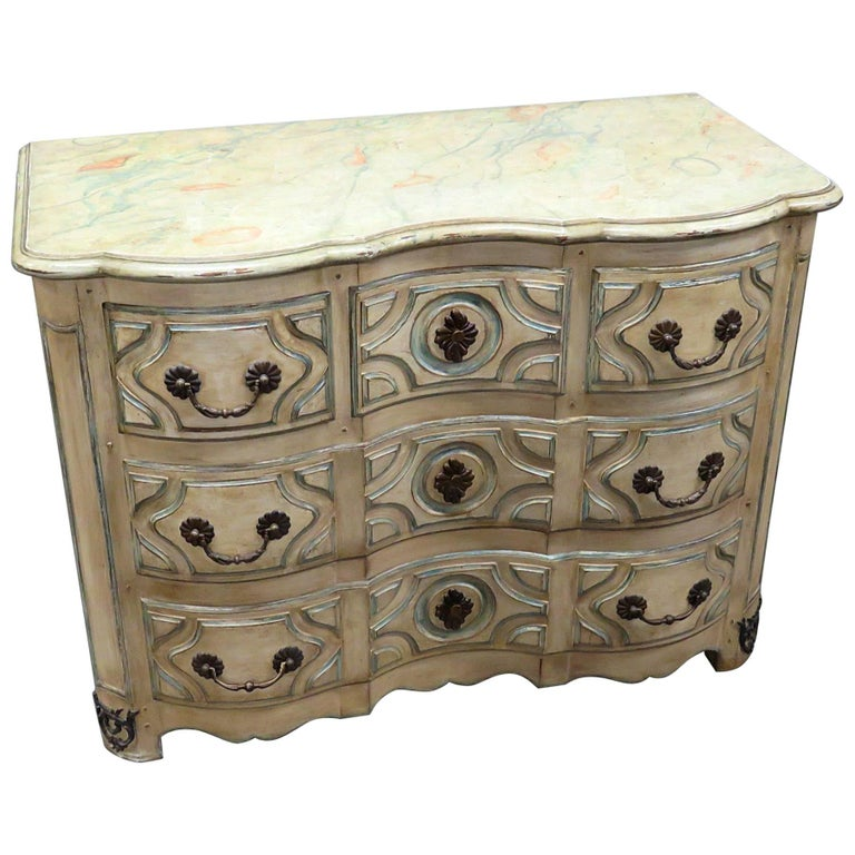 Jansen Style Distressed Decorated Commode