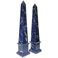20th Century Pair of Grand Tour Italian Blue Sodalite Obelisks