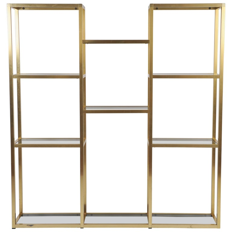 Large French 1970s Brass Bookcase or Etagere
