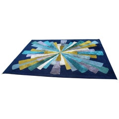 Mid-Century Modern Large Blue Hi Pile Low Pile Rectangular Starburst Rug Carpet