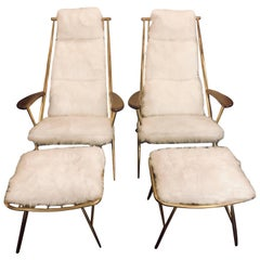 Pair of Hollywood Regency Style Fur Lounge or Chaise Chairs and Ottomans