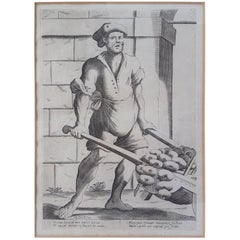 "17th Century Francesco Curti, circa 1603-1670 ""Vendor of Onions"" Etching"