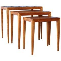 Set of Three Danish Modern Nesting Tables by Severin Hansen, 1960s