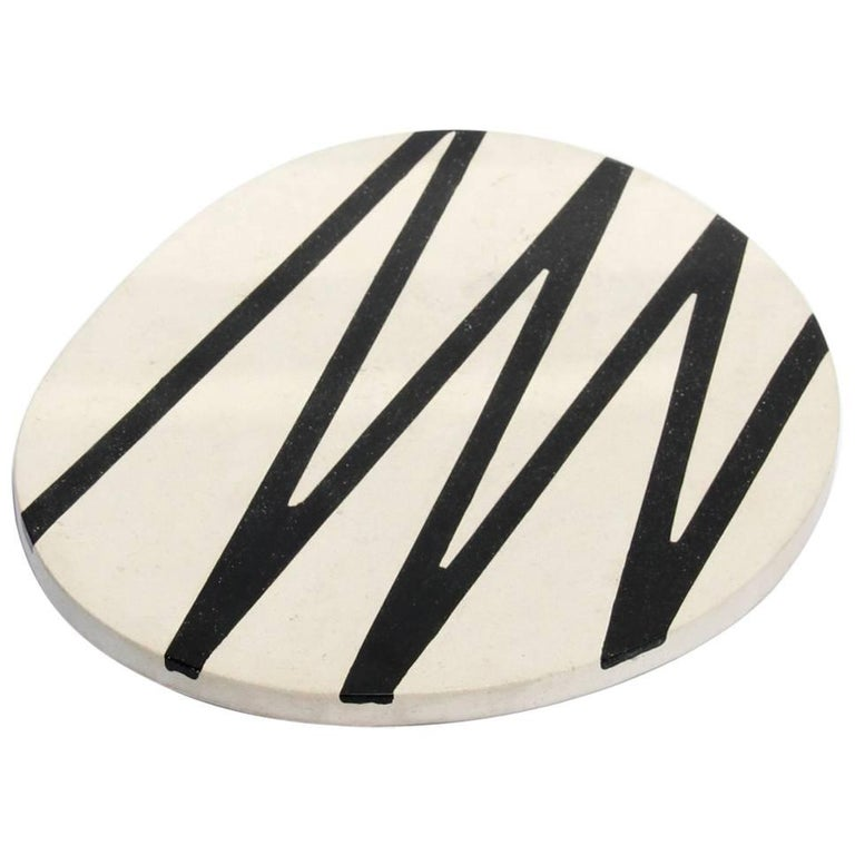 Board or Serving Plate Stone Resin Contemporary Style Black/White  For Sale