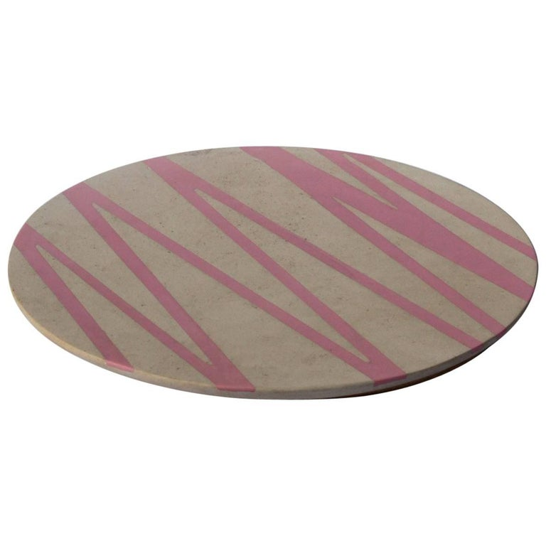 Board or Serving Plate Stone Resin Contemporary Style Cream/Pink