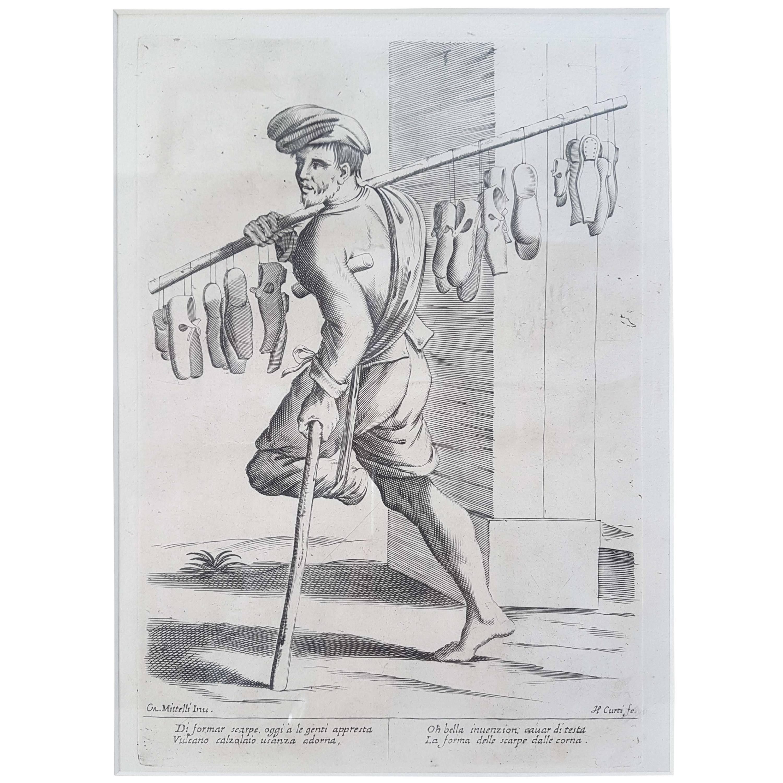 "17th Century Francesco Curti ""Vendor of Shoes"" Etching"