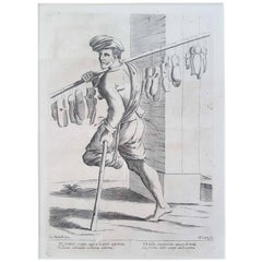 "17th Century Francesco Curti ""Vendor of Shoes"" Etching"