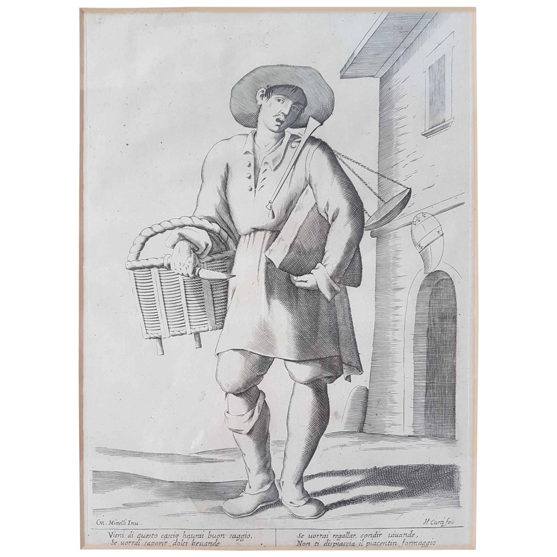 "17th Century Francesco Curti ""Vendor of Cheese"" Etching"