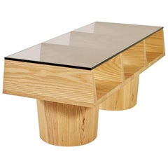 100xbtr Group-Six Contemporary Wood and Glass Coffee Table in Solid Ash