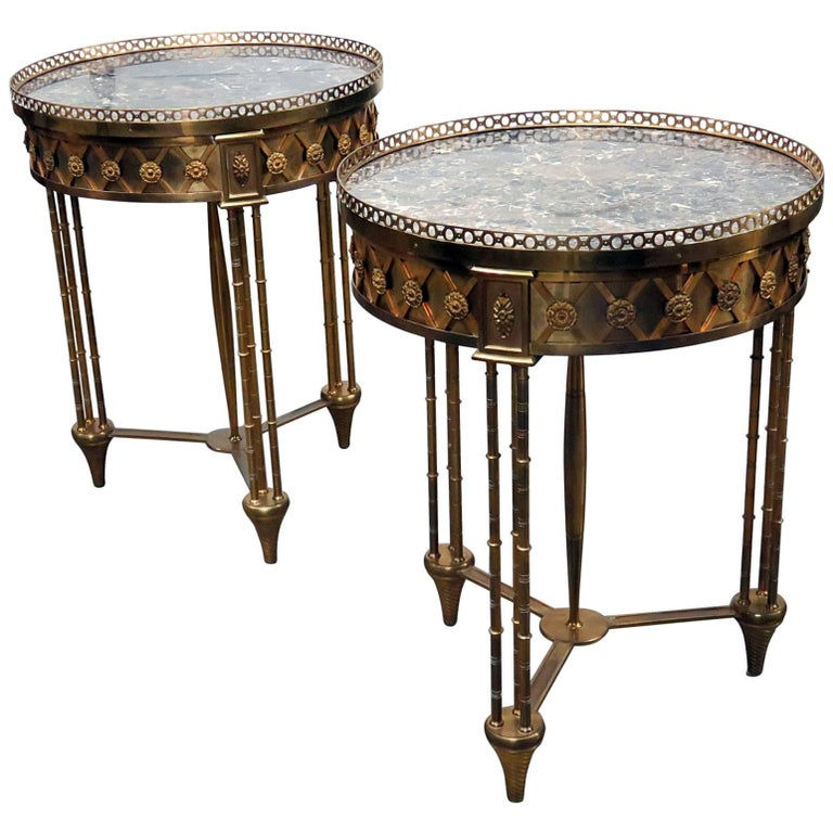 Pair of Directoire Bronze Marble Top Gueridons Attributed Jansen