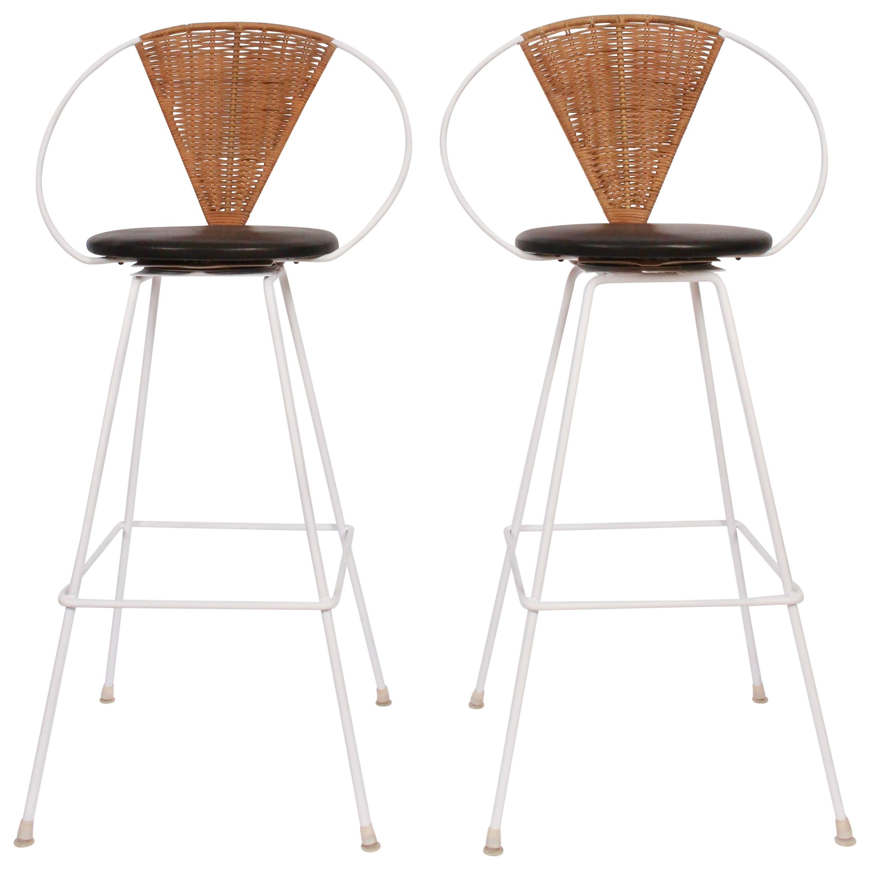 Pair Of Arthur Umanoff For Shaver Howard Iron, Rattan And Leather Bar Stools  For Sale