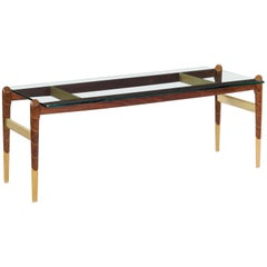American Studio Made Inlaid Walnut and Maple Coffee Table, circa 1990s