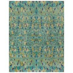 'Pavoral, Teal' Hand-Knotted Tibetan Rug Made in Nepal by New Moon Rugs