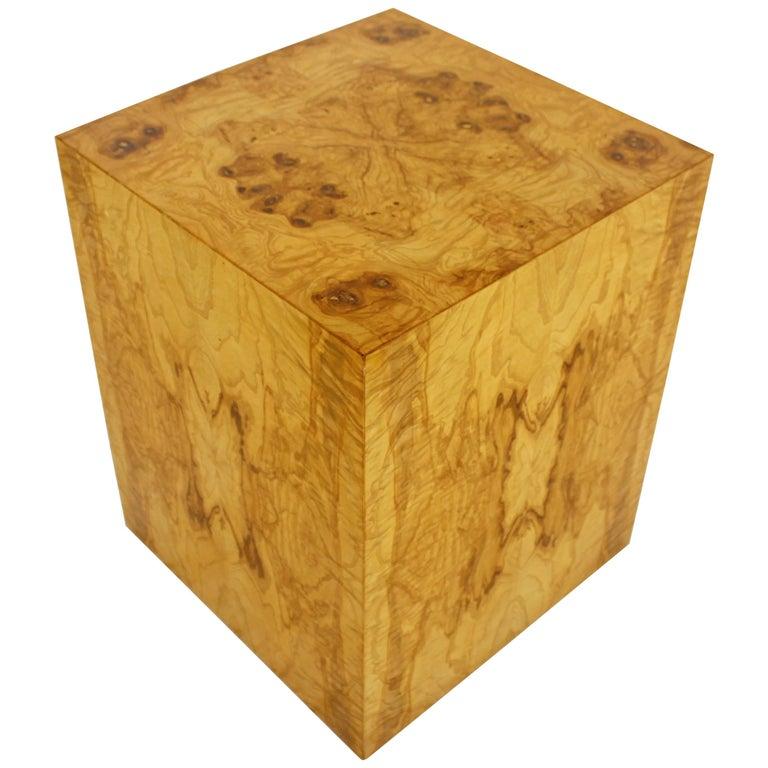 Mid-Century Modern Milo Baughman Burl Wood Cube Pedestal Side End Table, 1970s