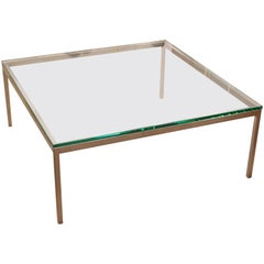 Mid-Century Modern Original Vintage Large Knoll Metal Glass Square Coffee Table