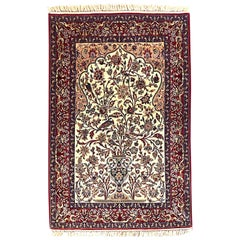 Persian Hand-Knotted Tree of Life Isfahan Red Rug