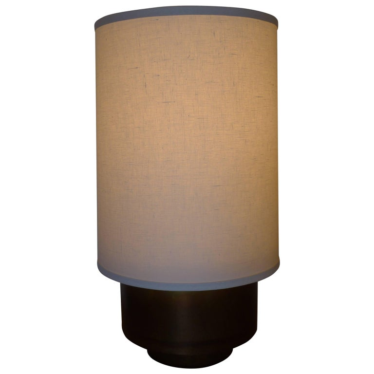 Modern Brass Table Lamp with Linen Shade by Paul Marra For Sale