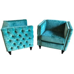 Pair of Mid-Century Modern Style Teal Tufted Oversized Box Form Armchairs