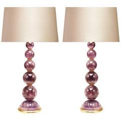 Pair of Modern Amethyst Rock Crystal Quartz Lamps