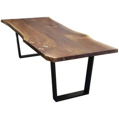Signature Live Edge Table, Walnut Hardwood and Blackened Steel Canted Legs