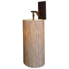 Modern Sconce with Custom Grasscloth Shade by Paul Marra