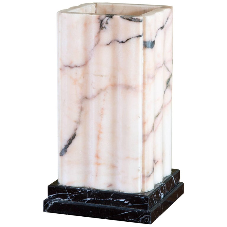 French Pink Marble Art Deco Table Lamp, circa 1930