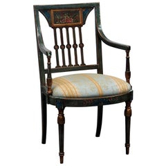 Antique Adams Style Paint Decorated Armchair