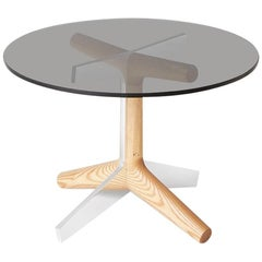 R4 Side Table, Modern Hardwood, Smoke Glass, and Polished Aluminium End Table