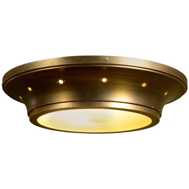 Large Midcentury Flush Mount Light with Gold Band and Frosted Glass Base