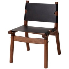 204 Side Chair, Modern Walnut Hardwood, Harness Leather and Anodized Aluminum