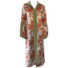 Moroccan Caftan, Hooded Kaftan Embroidered with Green and Gold