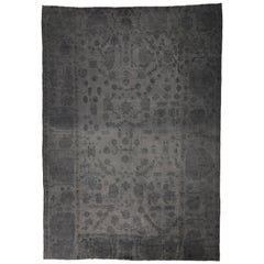 Dark Gray Turkish Kilim Rug with Minimalist Style