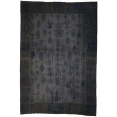 Charcoal Gray Turkish Kilim Rug with Minimalist Style