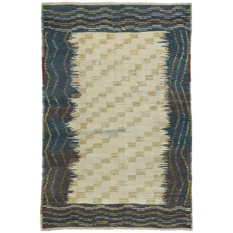 Turkish Kilim Rug with Modern Tribal Style, Flat-Weave Rug