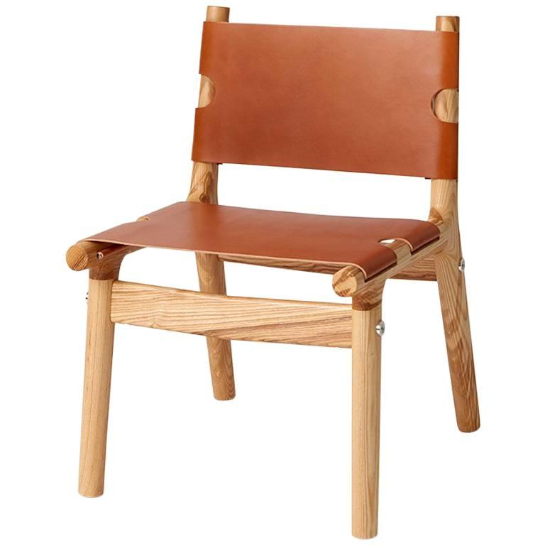 204 Side Chair, Modern Ash Hardwood, Tan Harness Leather, and Polished Aluminium