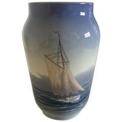 Royal Copenhagen Vase #2842/3604 with Ship and Ocean Motif