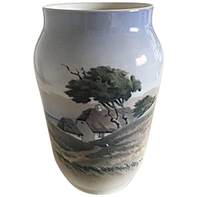 Royal Copenhagen Art Nouveau Vase with Landscape Motif #2854/3604