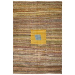 Modern Style Turkish Kilim Area Rug With Cubism Art Design