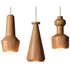 100xbtr Contemporary Solid Oak Bottle Pendant Hanging Lights, Set of Three