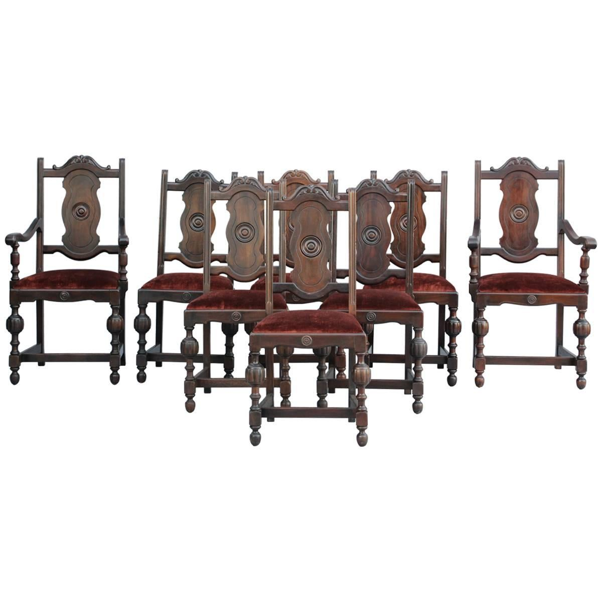 Set of Eight Spanish Revival 1920s Walnut Chair  sc 1 st  1stDibs & Spanish Colonial Dining Room Chairs - 7 For Sale at 1stdibs