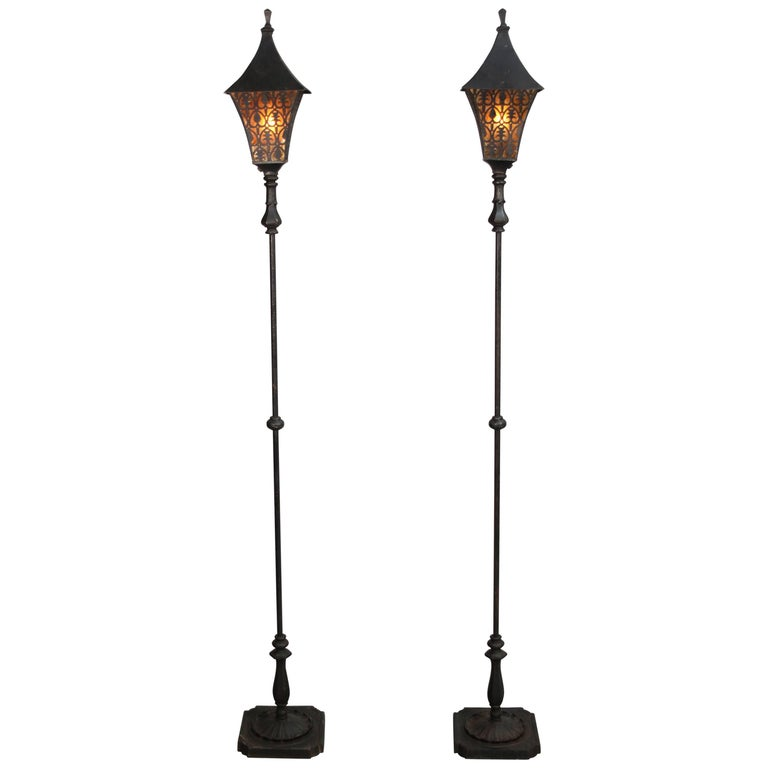 Pair of 1920s Torchieres with Mica