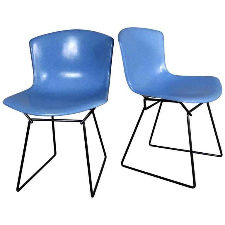 Pair of Harry Bertoia for Knoll Blue Fiberglass Side Chairs Black Wire Base