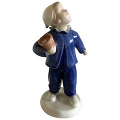 "Bing & Grondahl Figurine of Boy with Pot ""Who is calling?"" #2251"