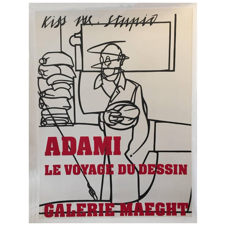 Original Vintage French Poster, Galerie Maeght Adami Exhibition, 1975 For Sale