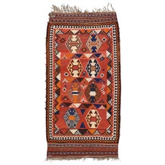 Vintage Persian Shiraz Kilim Rug with Tribal Style, Flat-Weave Kilim Rug