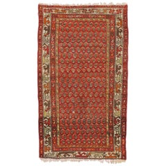 Antique Persian Boteh Hamadan Accent Rug with Tudor House Manor Style
