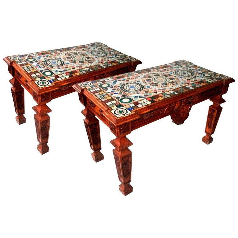 Marble Mosaic and Hand-Carved Wood Italian Pair of Tables